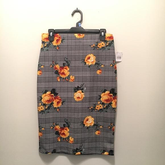 Rainbow Dresses & Skirts - Floral/Striped Pencil Skirt